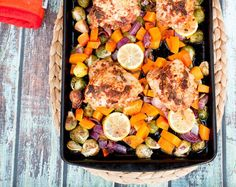 This one-pan roasted chicken thighs with butternut squash, brussels sprouts and red onion makes for a quick and easy weeknight meal!