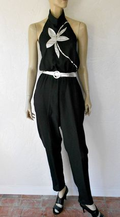 Vintage 70's Jumpsuit 70's Disco Sequined Floral by luvofvintage, $38.00