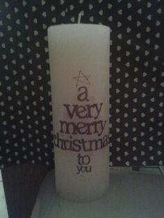 """Ecru kaars groot """"kerst"""""""