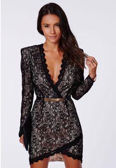 Elegant Black Long Sleeve Sheath Lace Dress