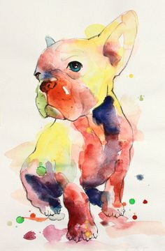 French bulldog Original watercolour painting . Hand painted. Painted by me. Dated and signed by me on the back. This piece measures 8 x 12 inches