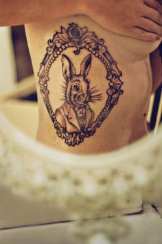 the rabbit alice in wonderland frame tattoo by tattoo dagmar roeselare brugge west. Black Bedroom Furniture Sets. Home Design Ideas