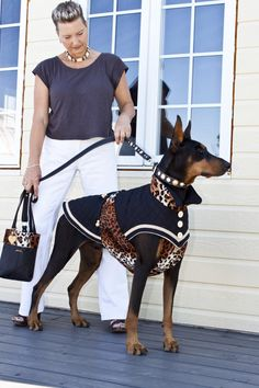 Fashionable #Doberman  I don't like the Cheetah print, but the rest is adorable! TF