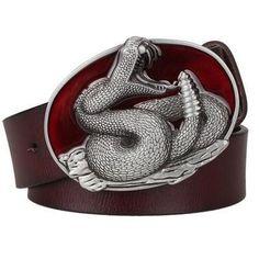 Silver Western Rattlesnake Belt Buckle with Belt