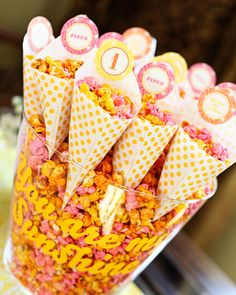 Flavored #popcorn in pretty cones- great for a party!