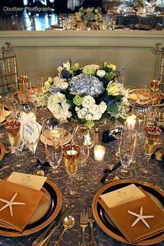 Love this elegant seaside wedding table-pure elegance! Well done! Hydrangeas always are great in nautical or seaside weddings!