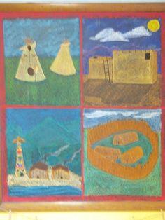 Waldorf ~ 3rd grade ~ Shelter & Building ~ Native American Homes ~ chalkboard drawing
