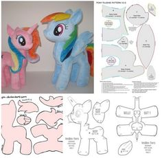 Molds to make a stuffed toy from my little ponny Craft Ideas Plushie Patterns, Craft Patterns, Sewing Patterns, Sewing Toys, Baby Sewing, Sewing Crafts, My Little Pony Plush, Little Pony Party, Sewing Stuffed Animals