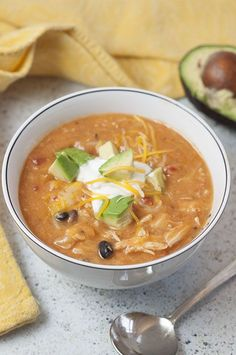 20 Minute Cheesy Chicken Enchilada Soup | Wishes and Dishes