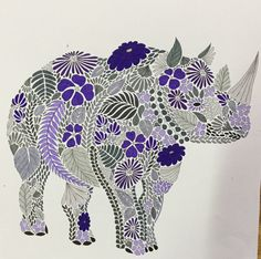 Colouring Millie Marotta Rhinoceros