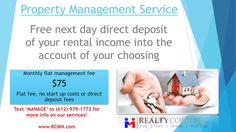 RealtyConnect - Buy  Sell  Lease  Mangage - Full Service Real Estate Team  Text MANAGE to (612) 979-1772 for more info on our services!  (612) 234-1439 / sales@rcmn.com  RealtyConnect currently manages a portfolio of properties throughout the Twin Cities metro area.  We specialize in providing excellent property management for various rental properties ranging from single family homes  townhomes  condos to duplexes.  Our experienced team of property managers and leasing specialists partner…