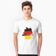 """Germany"" Slim Fit T-Shirt by favorite-shirt Germany Shirt, Funny Design, Tshirt Colors, Wardrobe Staples, Female Models, Classic T Shirts, Heather Grey, Tees, Mens Tops"