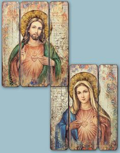 Shop Monastery Icons home decor for lovely items for the home, like this Discounted Pair of Ornamental Panels featuring Sacred Heart of Jesus and the Immaculate Heart of Mary. Religious Photos, Religious Paintings, Religious Art, Monastery Icons, Homemade Anniversary Gifts, Anniversary Ideas, Wedding Anniversary, Prayer Corner, Classic Portraits