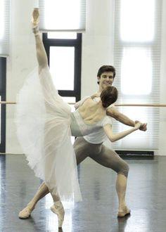 "<<Svetlana Zakharova and Roberto Bolle rehearsing for Kenneth MacMillan's ""Manon"" at Teatro alla Scala # © Teatro alla Scala>>"