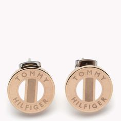 Tommy Hilfiger Earrings. Rose gold stud earrings with enamel stripes in signature colours at the centre.