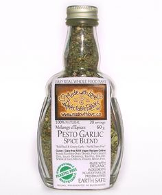 Pesto Garlic - 4.5oz Glass Bottle - Organic & Gluten Free Artisan Spice & Rub Blend by Made with Love Delectable Edibles on Gourmly