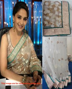 Designer Net Off White Bollywood Saree Bollywood Sarees Online, Madhuri Dixit, Off White, Sari, Embroidery, Design, Fashion, Saree, Moda