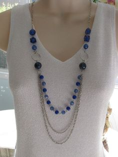 Long Blue Beaded Necklace Multi Strand by RalstonOriginals on Etsy, Bead Jewellery, Wire Jewelry, Jewelry Crafts, Beaded Jewelry, Jewelry Necklaces, Jewelry Ideas, Bracelets, Diy Necklace, Necklace Designs