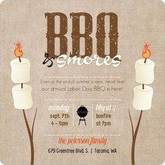 BBQ & Smores Labor Day Invitations by inviteshop.com. #bbqinvitations #campingpartyinvitations #smorespartyinvitations