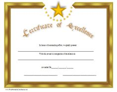 A gold certificate of excellence with distinctive stars. Free to download and print
