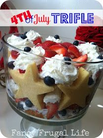 4th Of July Trifle ***ingredients (strawberries, blueberries, Sara Lee Pound Cake, star cookie cutter, whip cream)