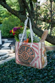 """Sturdy """"Market Bag"""" made by hand with vintage fabrics, vintage feed sack, and a vintage pin from La Bonne Vie Designs"""