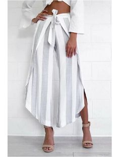 Retro Striped Print Irregular Wide Leg Pants With Sashes