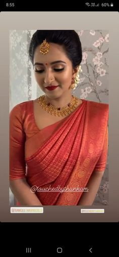 South Indian Hairstyle, Indian Bridal Hairstyles, Indian Bridal Outfits, Indian Bridal Makeup, Indian Bridal Fashion, Indian Dresses, Christian Wedding Sarees, Christian Bride, Saree Wedding