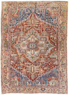 Antique Heriz Rug Hand-knotted in Persia Circa 1910