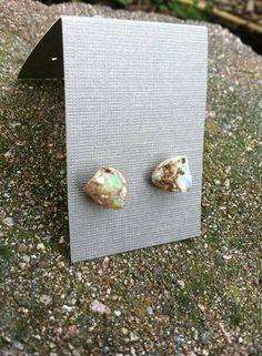 raw Ethiopian Opal stone earring studs