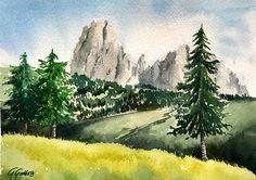 Dolomites, Alpe di Siusi, Sassolungo mountain watercolor by Giulia Gatti Watercolor And Ink, Watercolor Paintings, Watercolors, Mountains, Landscape, Gallery, Drawings, Artist, Nature