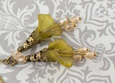 Olive Green Earrings Flower Drops Antique Brass by apocketofposies, $24.00