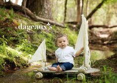 © dageauxsphotography.com / 6 month toddler boys photography / raft / huck finn / outdoor photography / please feel free to share but please do not crop out logo; do not copy, print, or download —