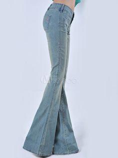 Pantalones vaqueros anchos de mujeres del paño de dril de algodón elástico - Milanoo.com