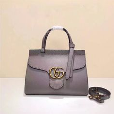 5c148bc0a52 Gucci GG Marmont leather Top Handle Mini Bag 442622 Grey 2016