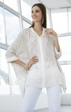 Summer's must-have blouse has a goes-with-anything neutral print.