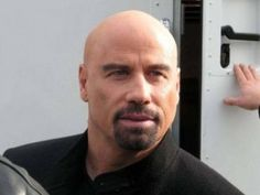 John Travolta, he used to be my absolute favorite before he started coloring his hair. Looks like he has remedied that. Old Bald Man, Bald Men, Shaved Head With Beard, Bald With Beard, John Travolta Young, John Travolta Kelly Preston, Goatee Beard, Hair And Beard Styles, Hair Styles