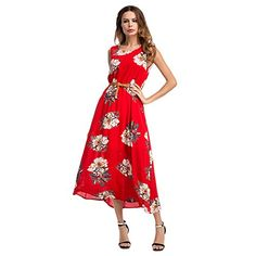 YUMDO Womens Floral Printed Retro Vintage Long Dress Red XL -- Find out more about the great product at the image link-affiliate link #RetroFashion
