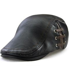 Men s Vintage newsboy Cap PU Leather IVY Flat Gatsby Hat Winter Golf Driving  Hats Beret Caps 64af36a881f7