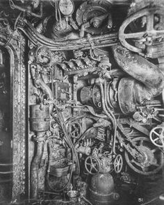 The inside of a WWI submarine was creepy and claustrophobic Engine room, looking forward on starboard side.