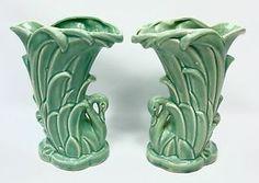 McCoy USA Pottery Green Aqua Swan Vase Pair MCM   eBay