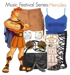 """""""Music Festival Series #9: Hercules"""" by disneygirl22 ❤ liked on Polyvore featuring Avenue, Casetify, Glamorous, Steve Madden, Tiffany & Co., disney, hercules, disneybound and musicfestival"""