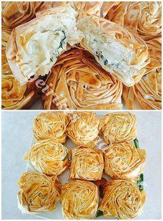 Τυροπιτάκια τριανταφυλλένια Greek Cookbook, Greek Dishes, Snack Recipes, Snacks, Greek Recipes, Cabbage, Chips, Appetizers, Bread