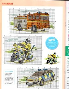 Ponto Cruz Veículos. /  Vehicles Cross Stitch.