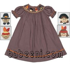 Thanksgiving bishop hand smocked dress for girls  Size: 3mos-10yrs  Material: brown plain  OEM service  Big promotion this month