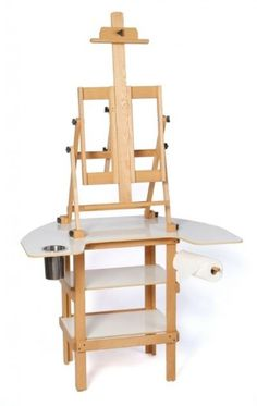 Oak Premier Paint Station Stands at its most compact, at its highest point. permanently mounted bottom gripper and one adjustable gripper Grippers will adjust to hold up to a tall canvas. Art Studio Storage, Art Studio Organization, Art Storage, Art Studio At Home, Studio Room, Home Art, Painting Station, Art Station, Discount Art Supplies