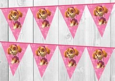 Paw Patrol Skye Pink Bunting Banner by TwinklenShineDesign on Etsy