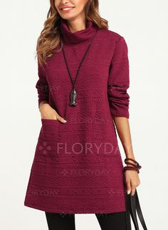 Dress - $40.99 - Solid Pockets High Neckline Long Sleeve Shift Dress (01955216792)