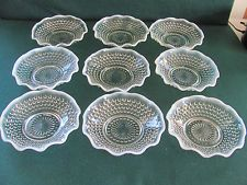 "Anchor Hocking Moonstone Ruffled edge Berry Bowls, 5½"" x 1½"" tall. $24,50/Set of 9 at lpman641 on ebay, 2/24/16"