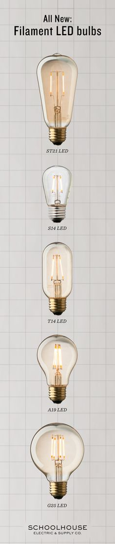 Design-friendly LED bulbs have arrived. Vintage-inspired, these filament LED's last more than 10x longer than traditional incandescent lights and consume a fraction of the energy | Shop the collection at Schoolhouse Electric & Supply Co.